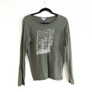 Lucky Brand Graphic Long Sleeve Tee Olive Green